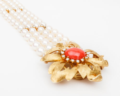Midcentury Cartier Pearl Bracelet with Coral & Diamond Flower
