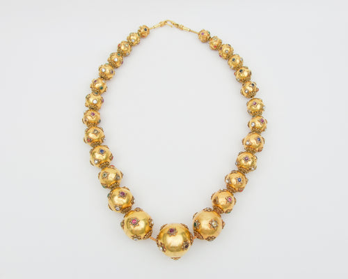 Late-Midcentury Gold Bead Necklace with Gemstones