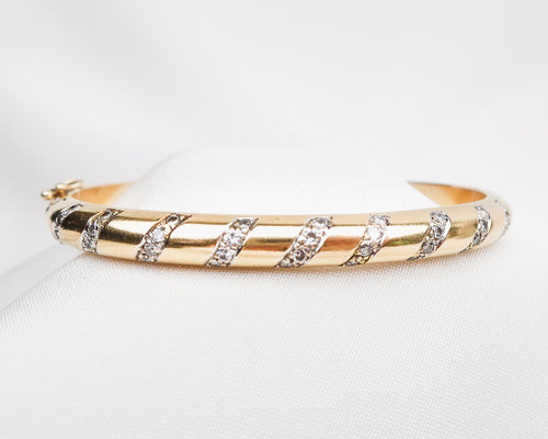 Late-Midcentury Gold Bangle with Diamond Stripes