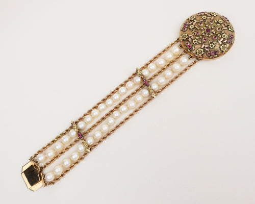 Late-Midcentury Pearl Bracelet with Ruby-Encrusted Clasp Cover