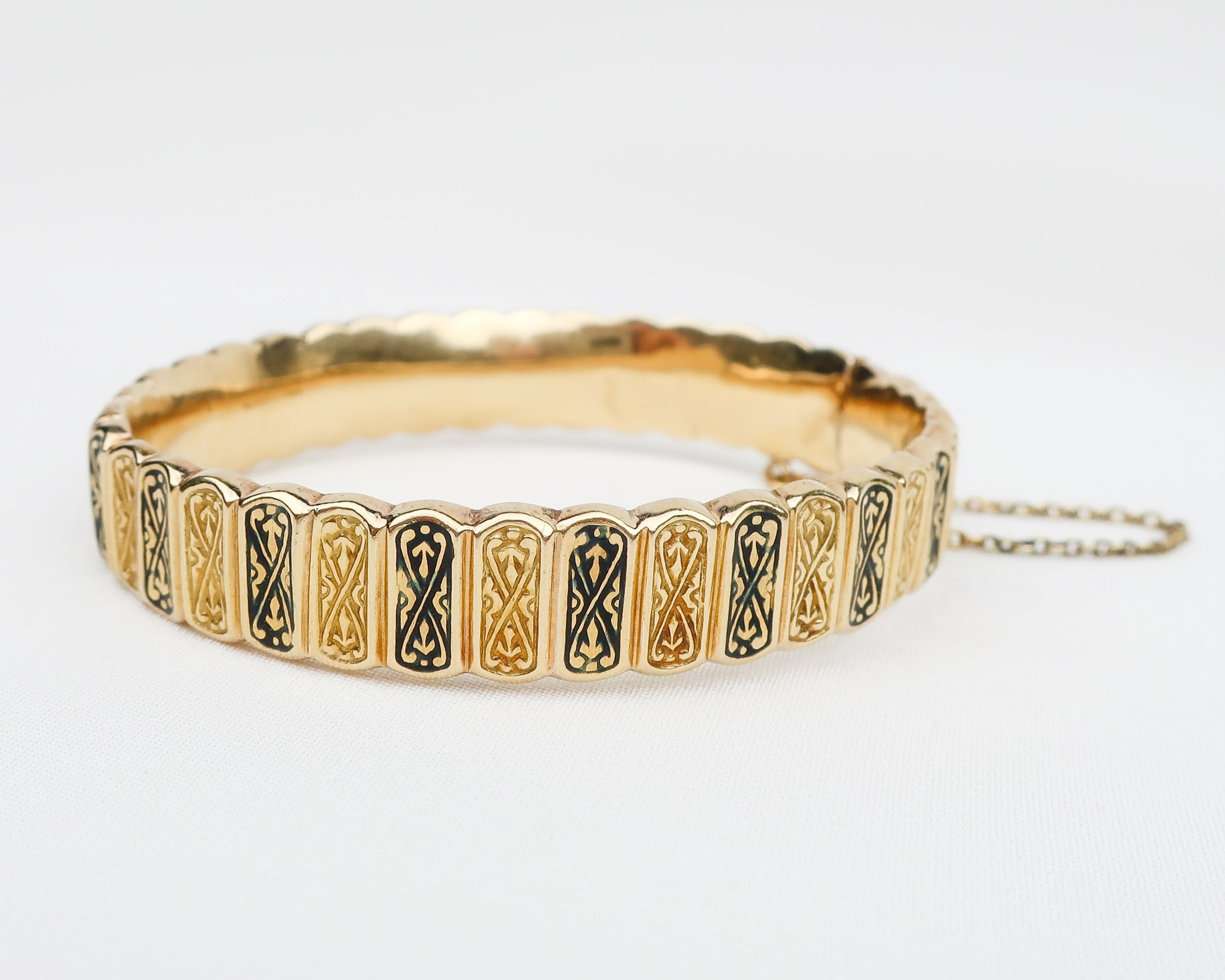 Victorian Gold Bangle with Black Enamel