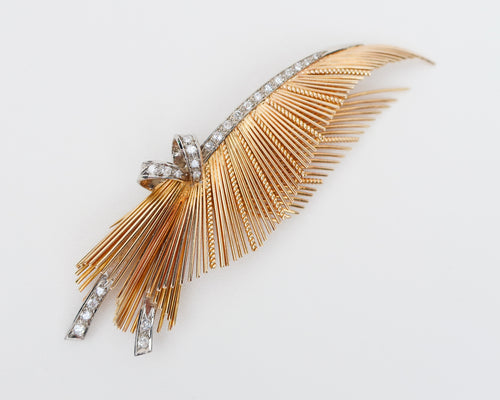 Retro-Era Feather Diamond Brooch