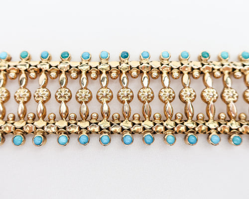 Midcentury Gold Bracelet with Turquoise Cabochons