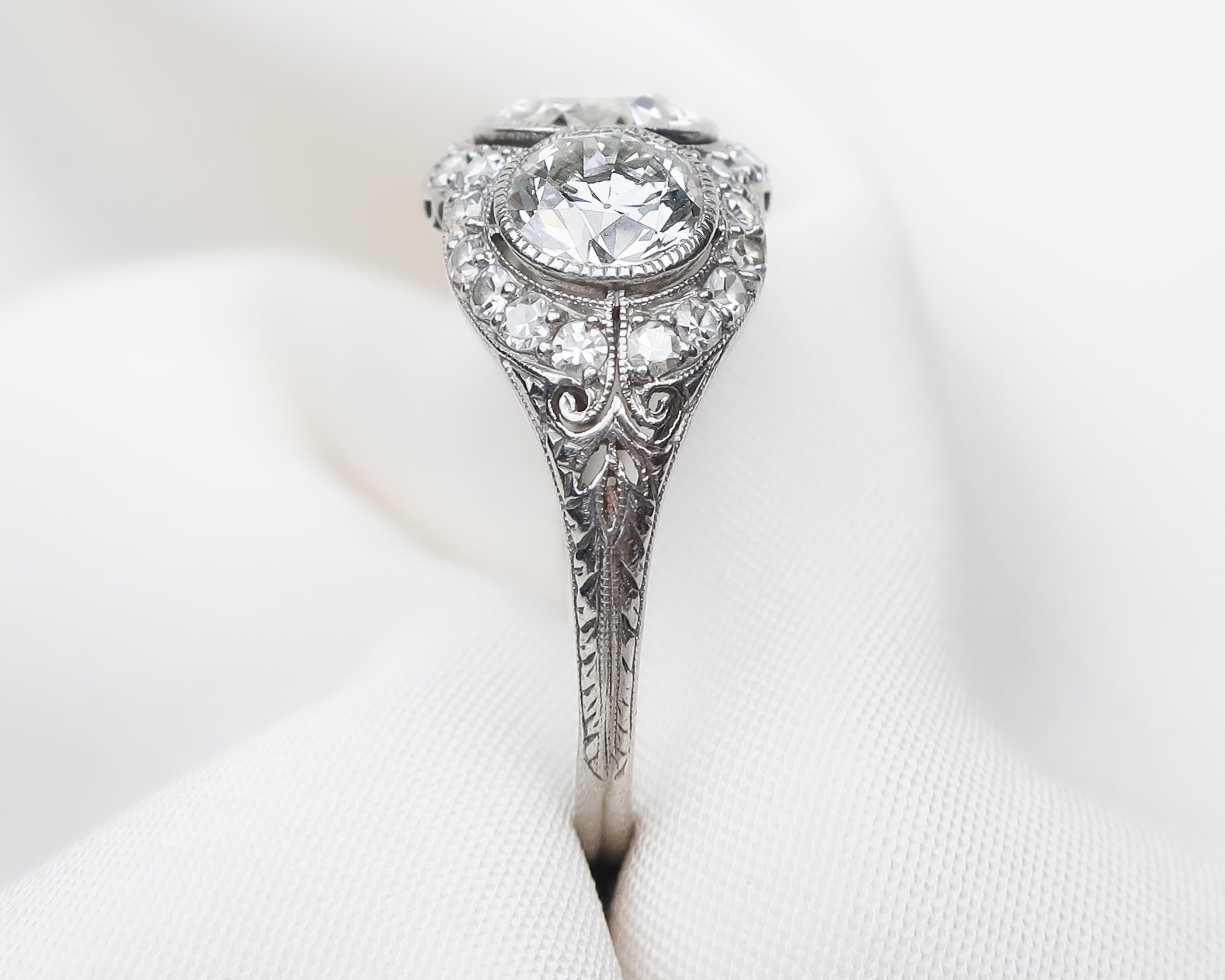 Art Deco 3-Stone Diamond Filigree Ring