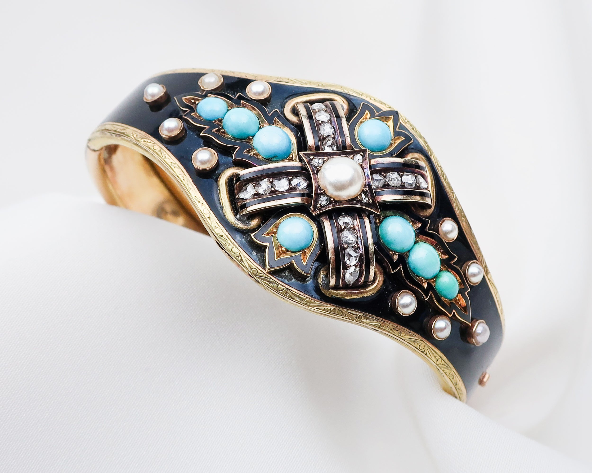 Victorian Turquoise & Pearl Cuff Bracelet