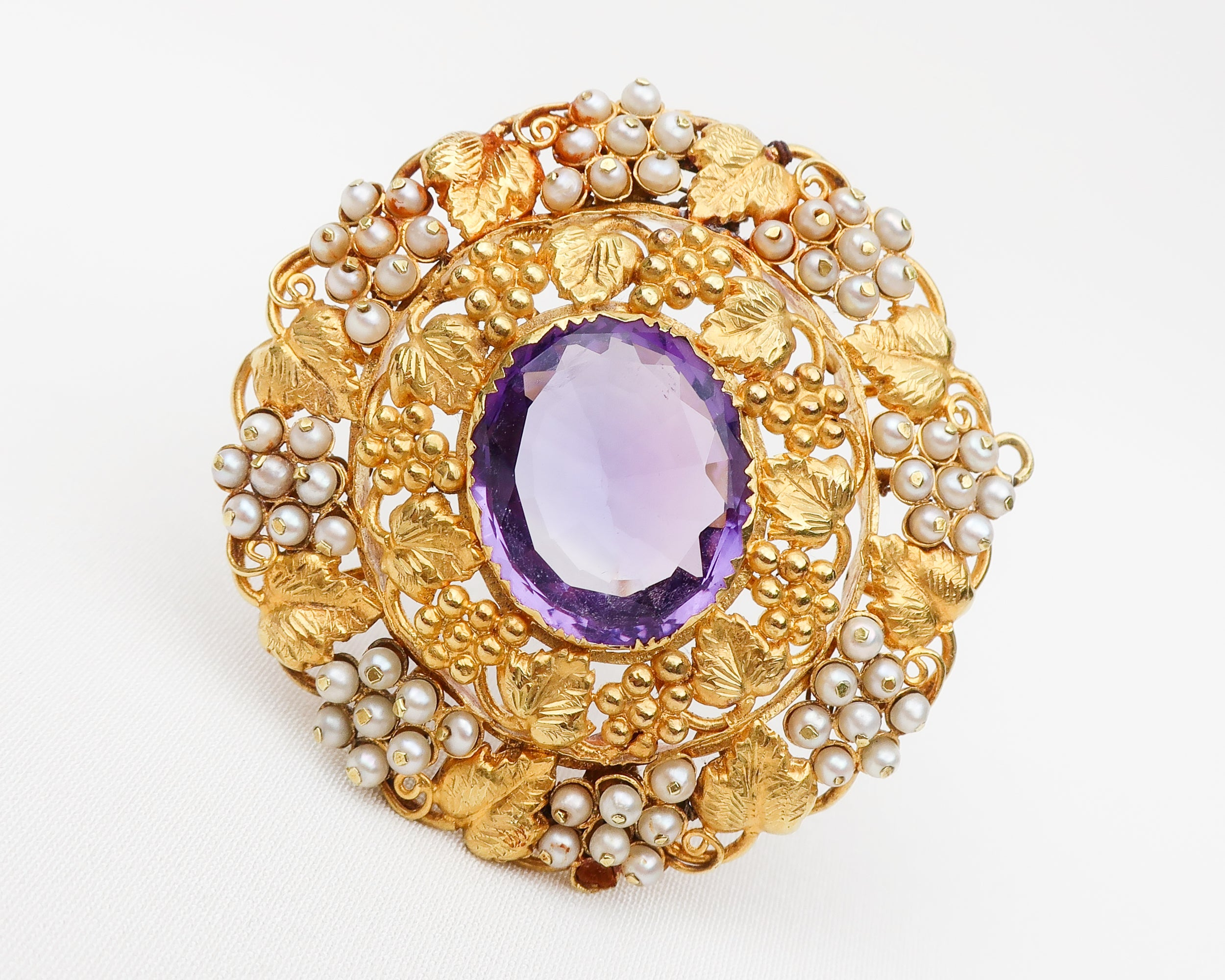 Victorian Amethyst and Seed Pearl Brooch