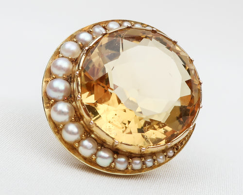 Victorian Crescent Citrine Brooch with Seed Pearls