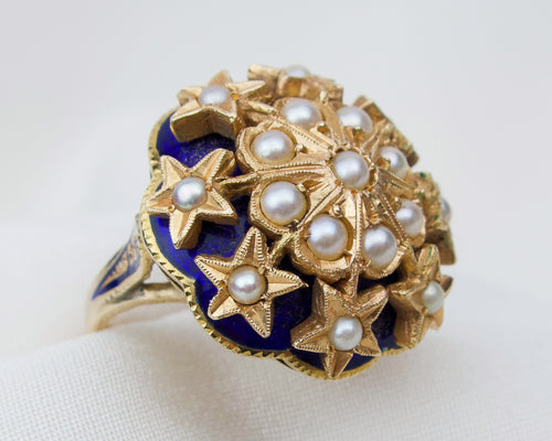Victorian Seed Pearl and Enamel Ring