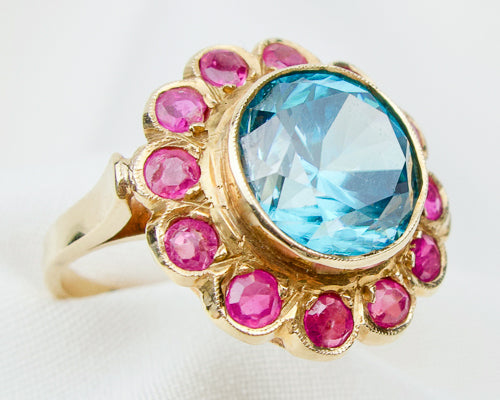 Retro Zircon and Ruby Ring