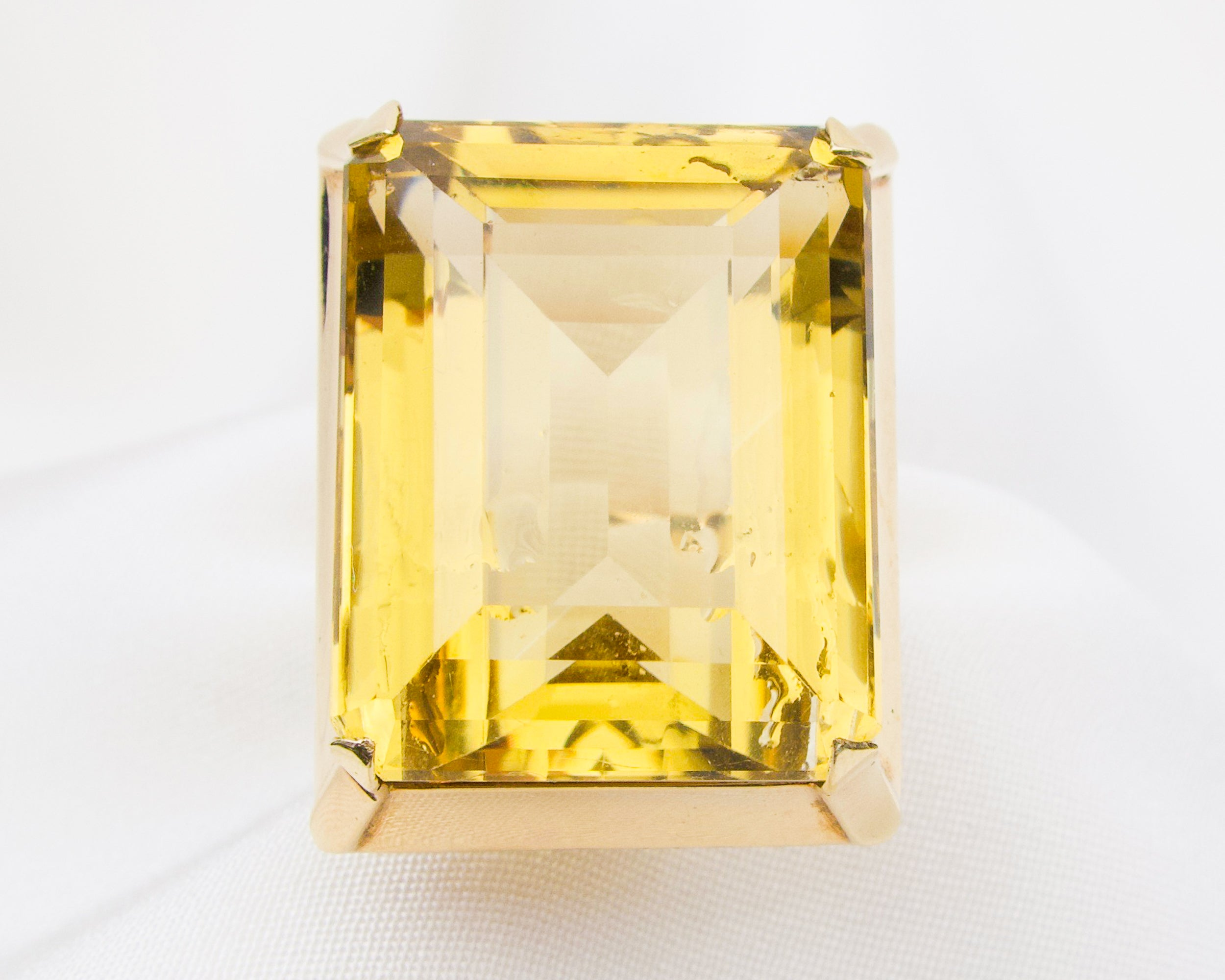 Retro-Era Citrine Cocktail Ring