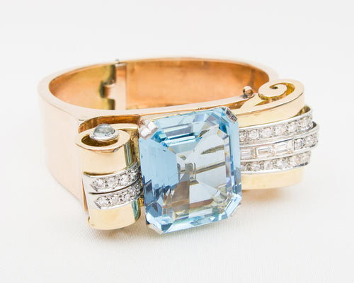 Retro Aquamarine & Diamond Bracelet (Converts to Brooch)