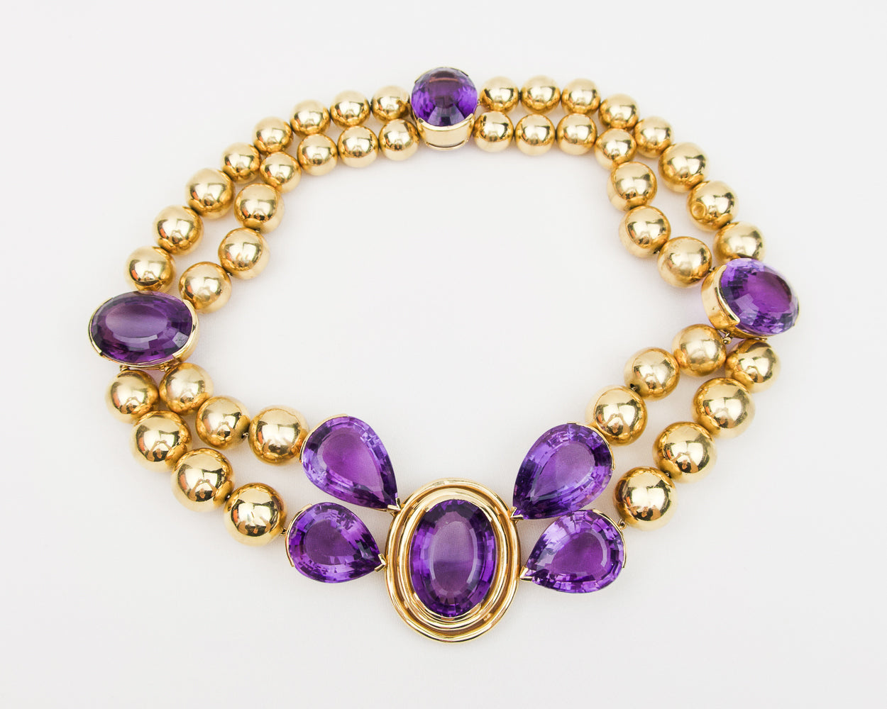 Vintage Beaded Necklace with Amethysts