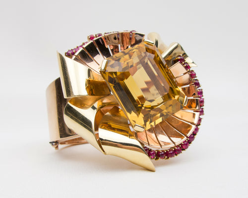 Retro-Era Citrine Cuff Bracelet with Ruby Accents