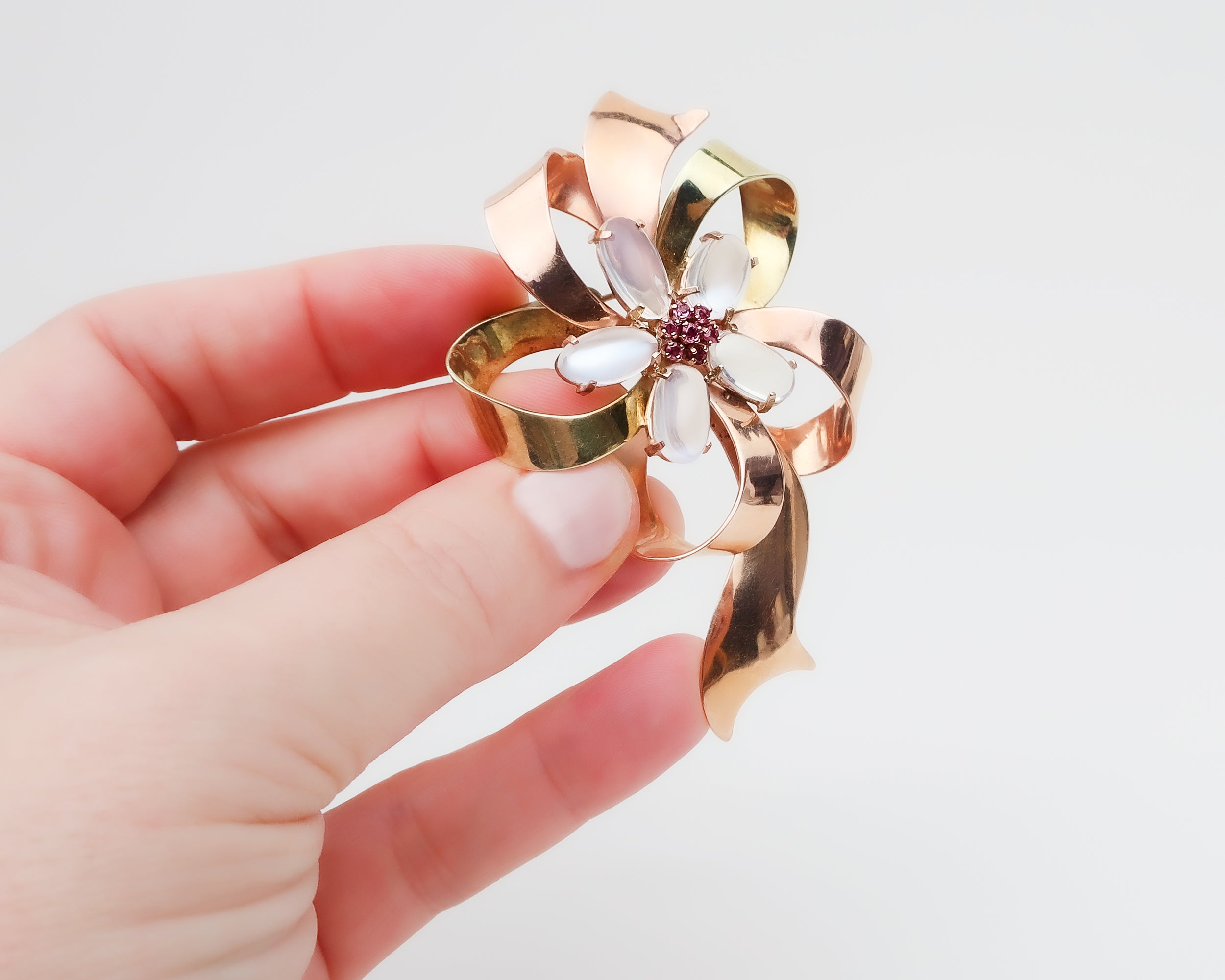 Retro Floral Brooch with Moonstone & Rubies