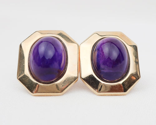 Midcentury Amethyst Cabochon Earrings
