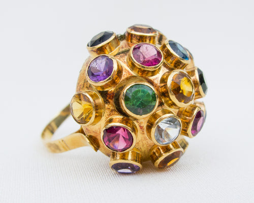 Midcentury Sputnik Gemstone Ring