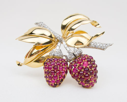Retro Raspberry Ruby & Diamond Brooch