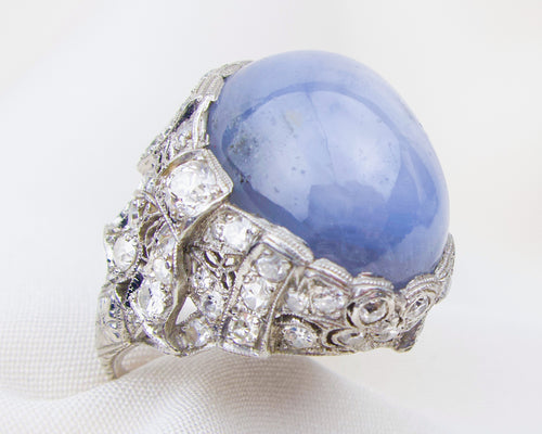 Art Deco Star Sapphire Diamond Ring