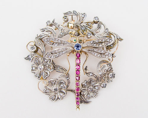 Victorian Gemstone Dragonfly Brooch