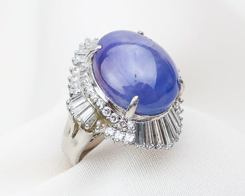Midcentury Star Sapphire Diamond Ballerina Skirt Ring