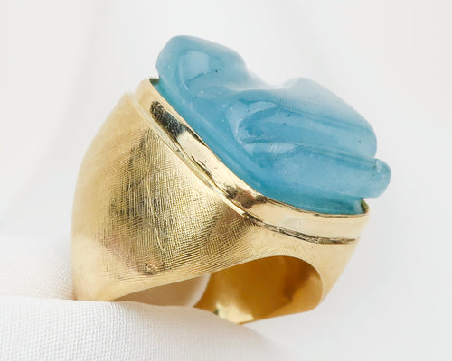 Vintage Freeform (Carved) Aquamarine Ring