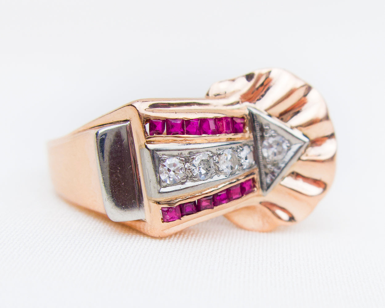 Retro Arrow Ring with Diamonds & Rubies
