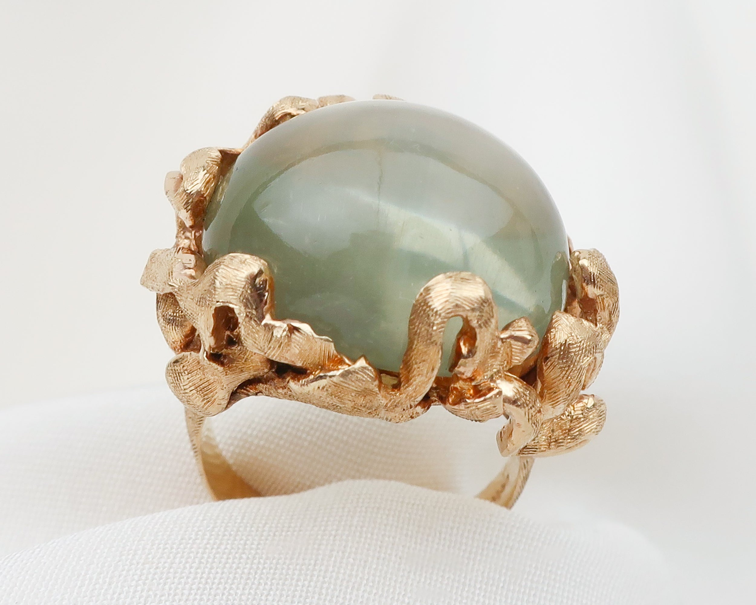 1970s Cat's Eye Moonstone Cabochon Ring