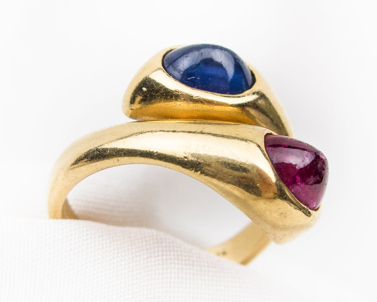 1960s Sapphire and Ruby Snake Ring