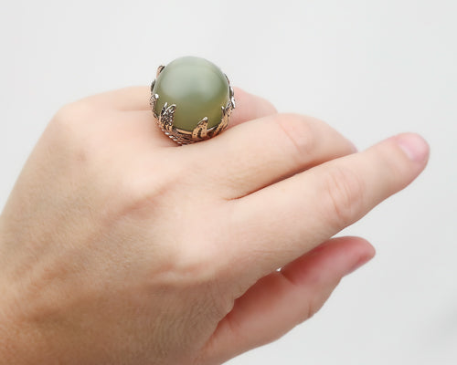 1960s Cat's Eye Moonstone Cabochon Cocktail Ring