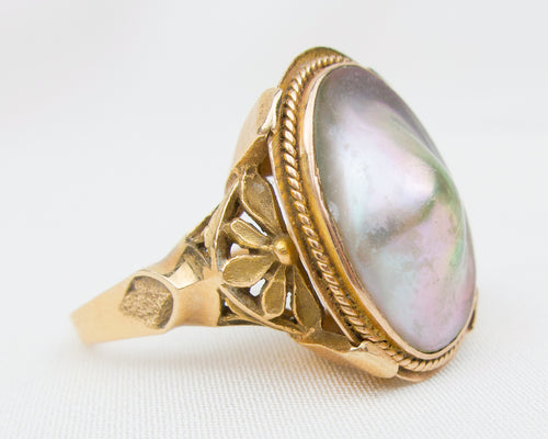 Retro-Era Cultured Mabe' Pearl Ring
