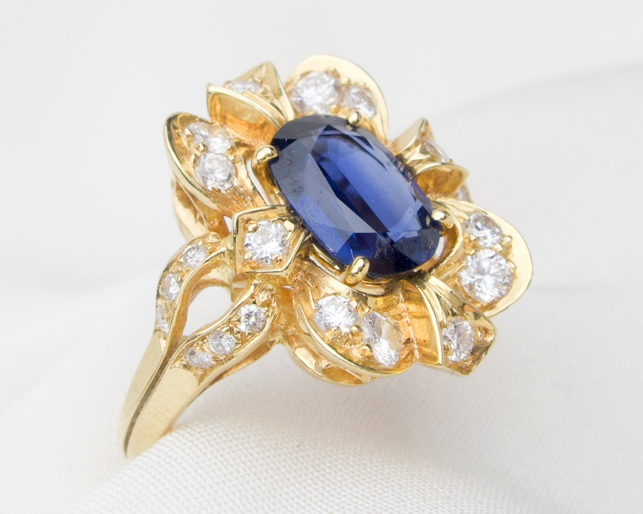 Late-Midcentury Victorian Revival Sapphire and Diamond Ring