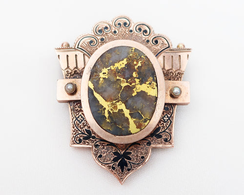 Victorian Gold-Bearing Quartz Brooch