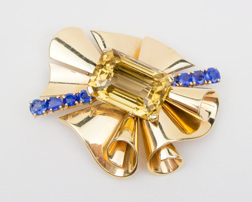 Retro Citrine Brooch with Sapphire Accents