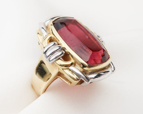 Late-Midcentury Tourmaline Cocktail Ring