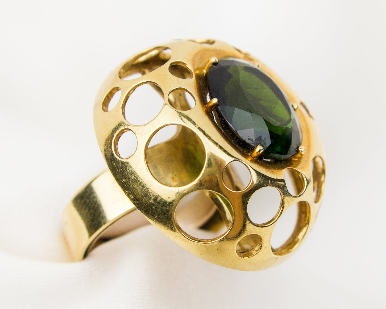 Late-Midcentury Green Tourmaline Cocktail Ring