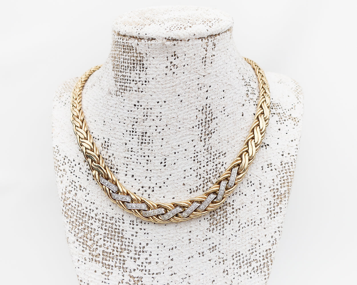 Circa 1970 Gold Braided Necklace with Diamonds