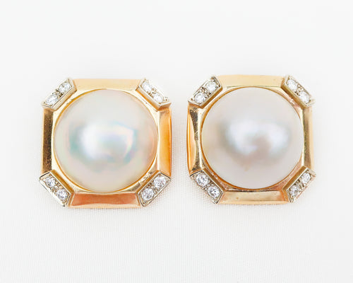 Circa 1970 Mabe' Pearl and Diamond Earrings