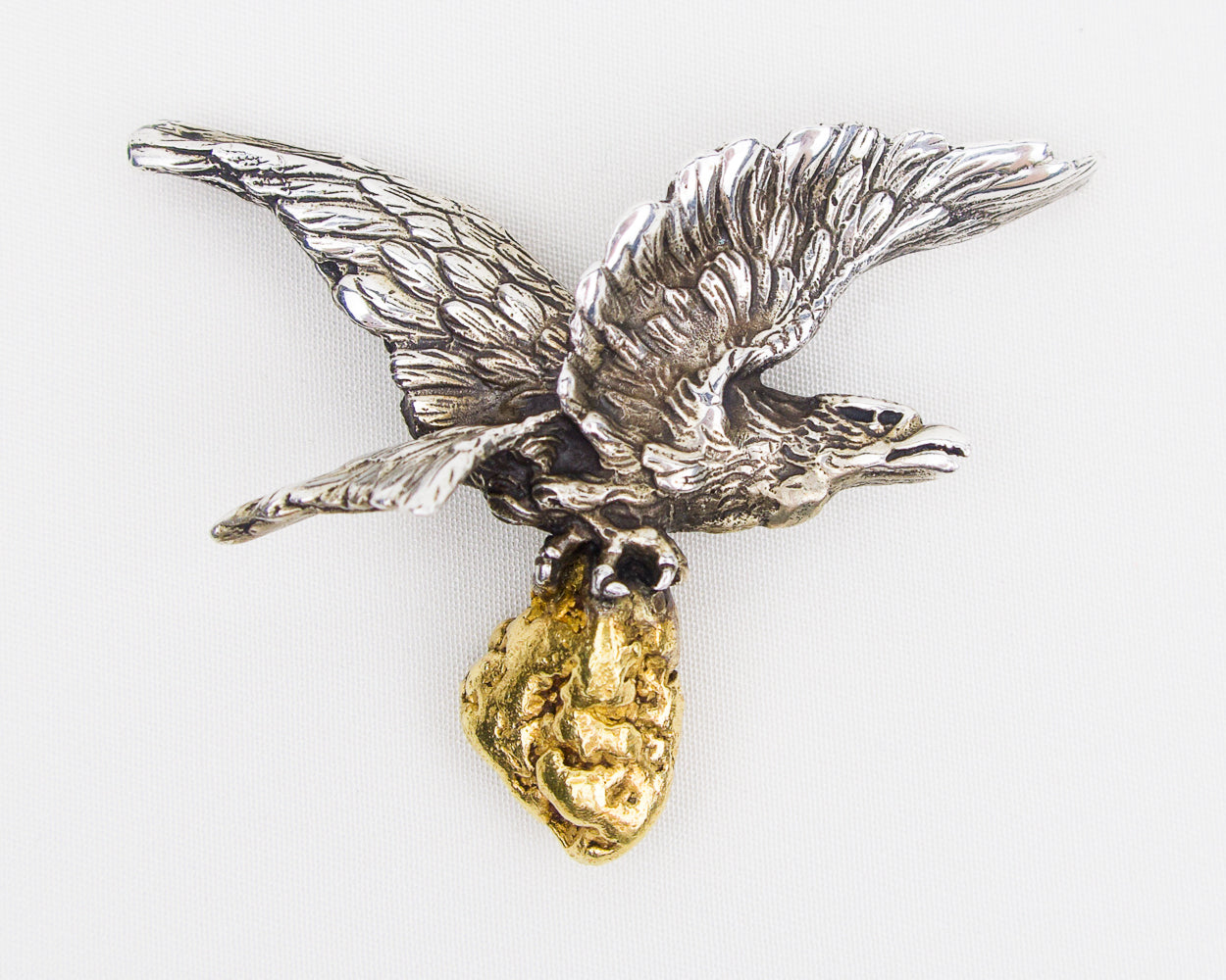 Midcentury Sterling Silver Eagle Pendant with Gold Nugget