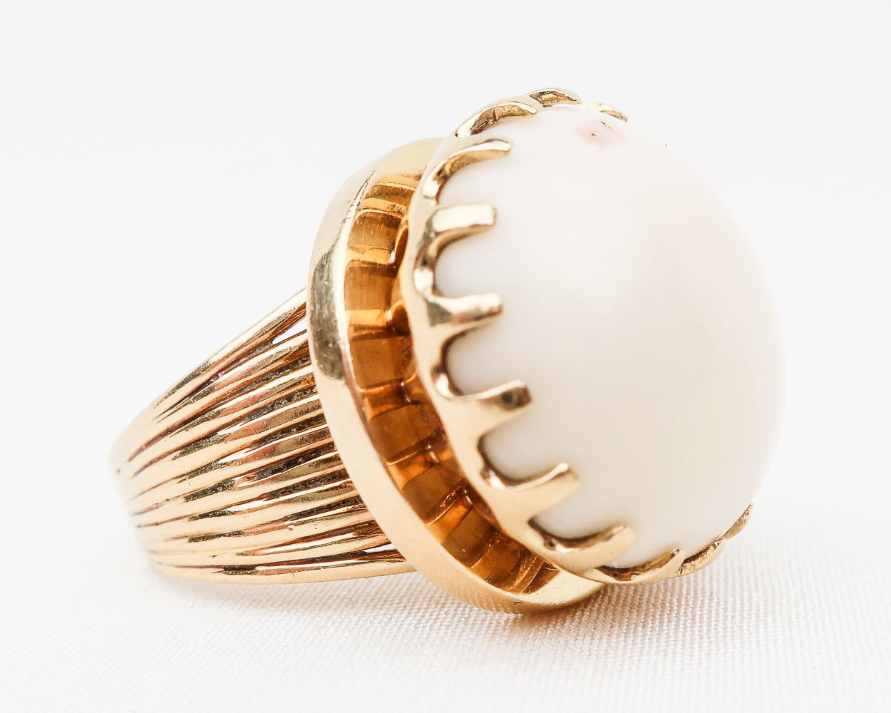 Retro Cabochon Coral Cocktail Ring