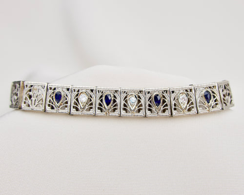 Art Deco Diamond Filigree Bracelet with Synthetic Sapphires