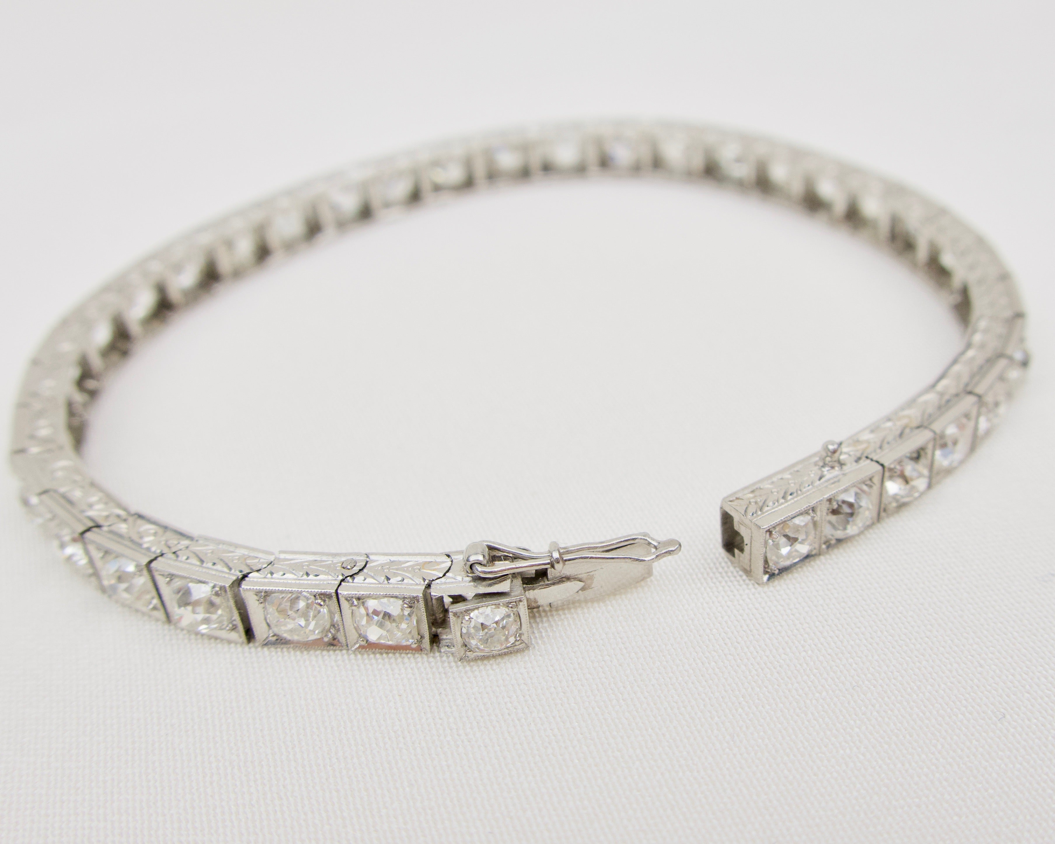 Art Deco Diamond Straight Line Bracelet