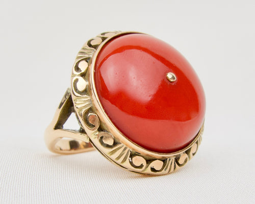 Late-Midcentury Polish Coral Ring