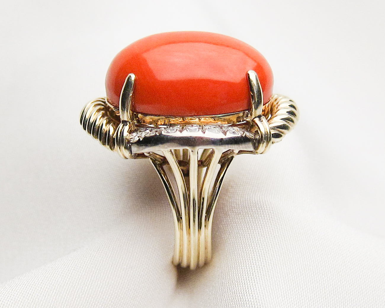 Midcentury Coral & Diamond Cocktail Ring