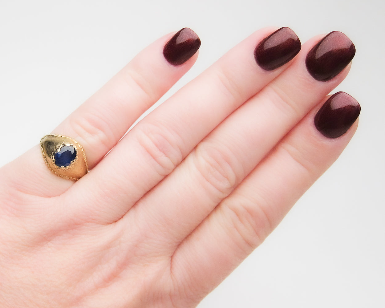 Retro 18KT Gold Domed Sapphire Ring