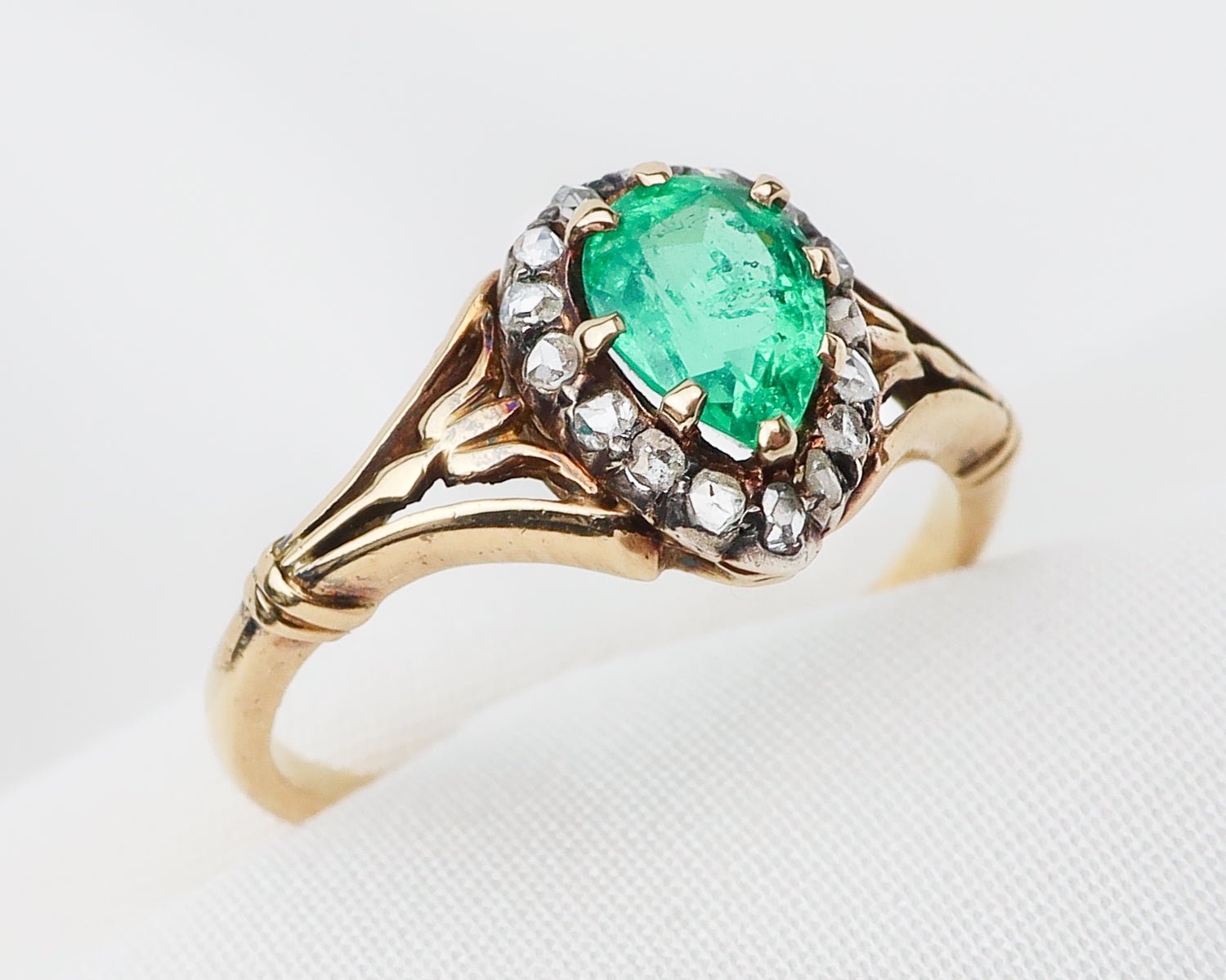 Circa 1900 Pear-Cut Emerald & Diamond Ring