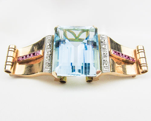Fabulous Retro Aquamarine Brooch