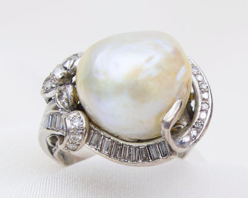 Midcentury Baroque Pearl Ring with Diamonds