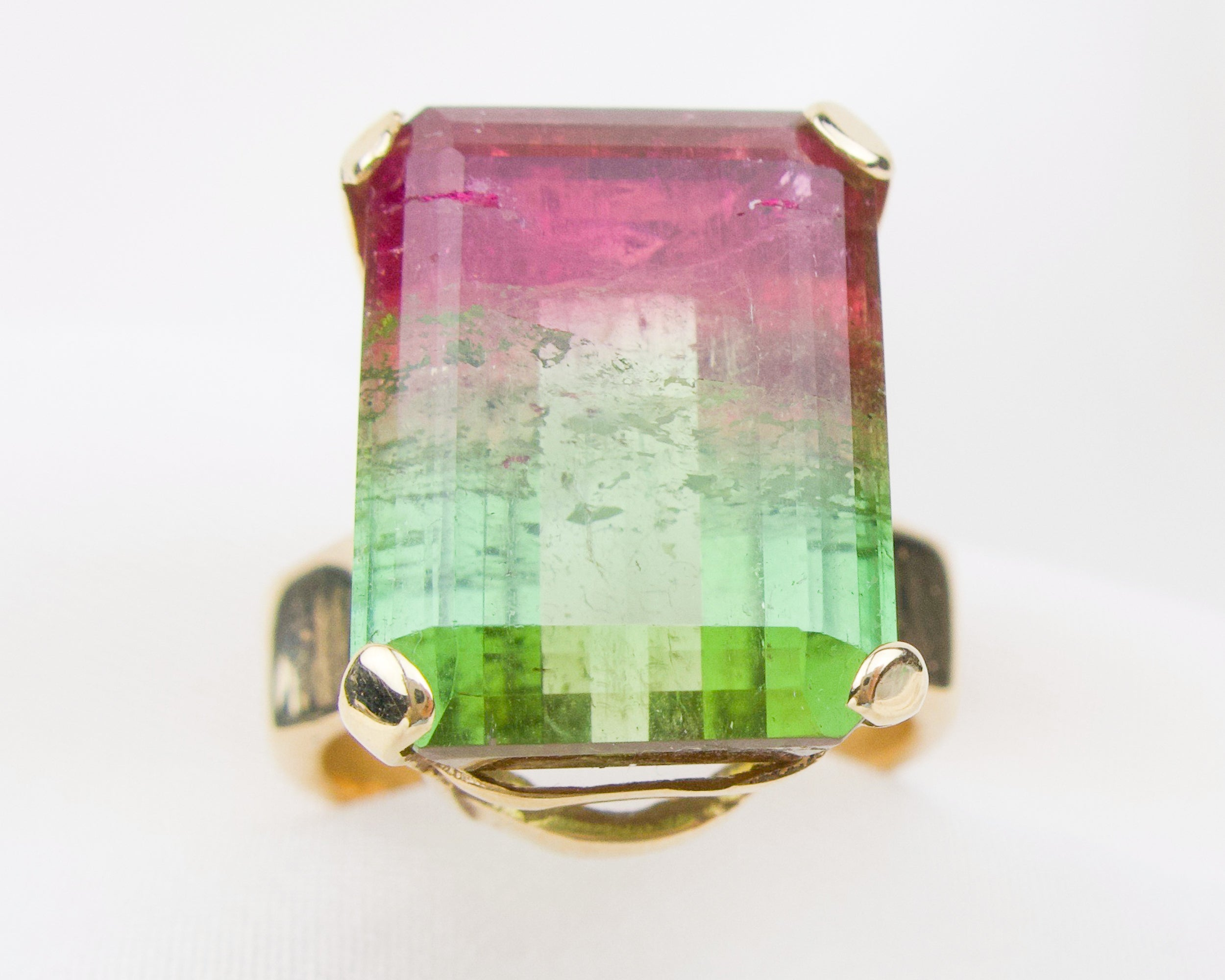 Vintage Watermelon Tourmaline Cocktail Ring