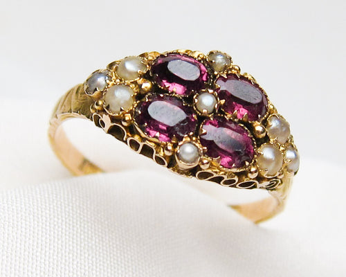 Victorian Pearl & Amethyst Ring