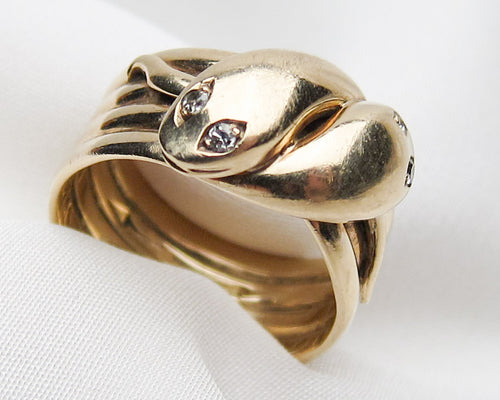 Victorian Snake Ring with Diamond Eyes